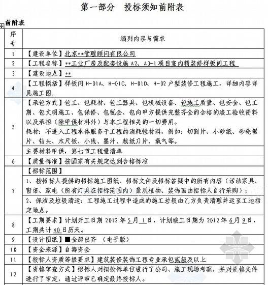 [北京]厂房及配套设施项目室内精装修工程(样板间分包)招标文件