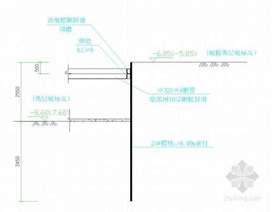 电梯井基坑槽钢支护结构图