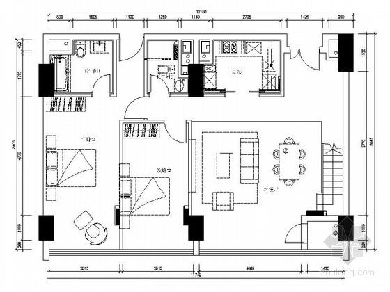 [上海]loft风格108平公寓室内装修施工图