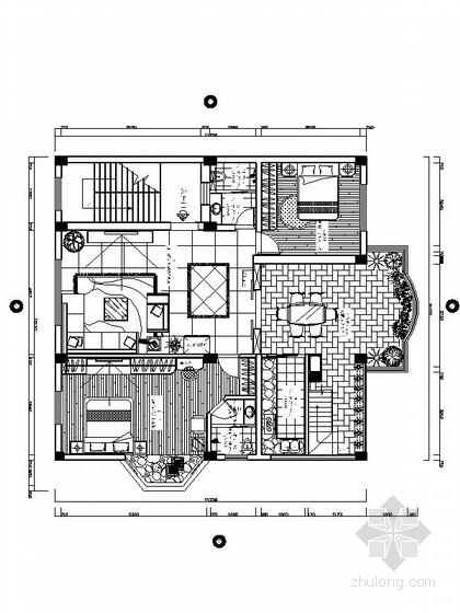 现代简约风格复式楼室内CAD设计施工图(含效果图)