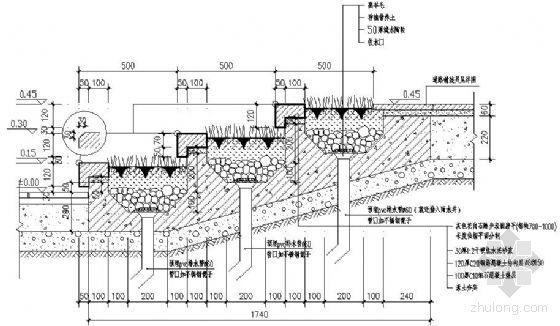 花岗石踏步详图(带种植槽)