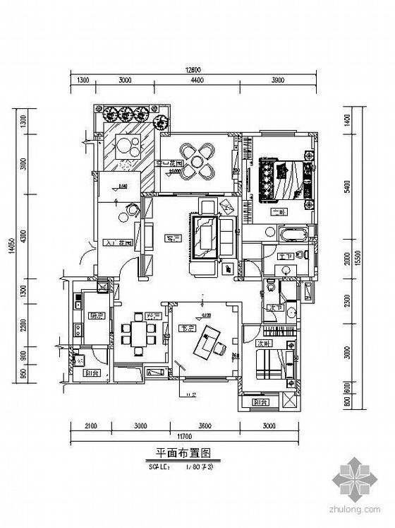 [成都]三居室地中海风格样板房施工图