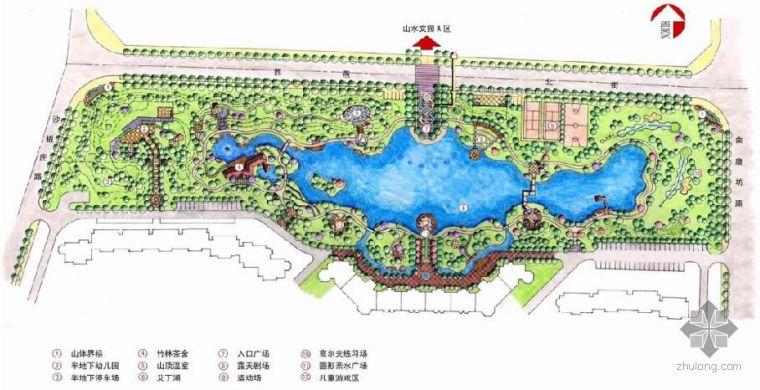 [手绘]北京某小区中央花园手绘总平面