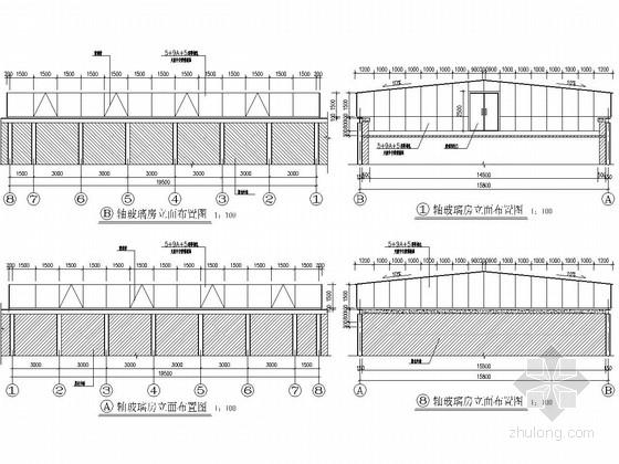 屋顶加层玻璃采光房钢结构施工图