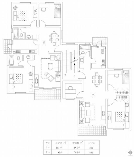 板式多层一梯两户户型图(102/92)