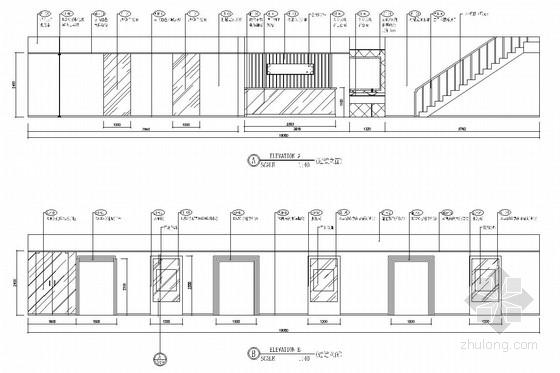 [重庆]全国连锁加盟特色火锅店室内施工图(含效果图) 走道立面图