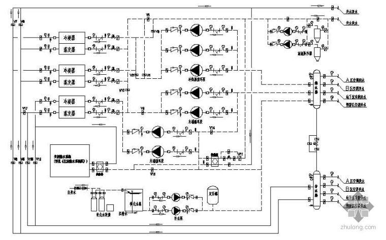 地源热泵系统原理图(多井宾馆)