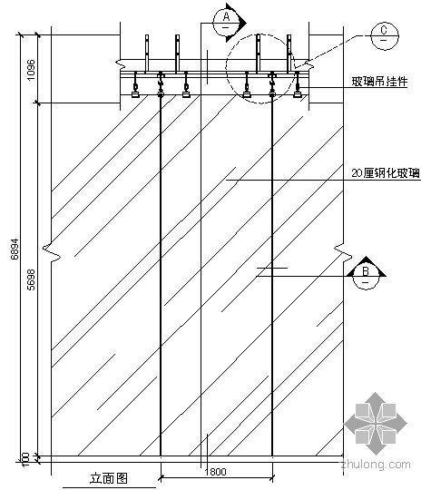 某吊挂式玻璃幕墙节点构造详图(八)(立面图)