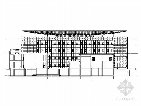 [四川]四层构架屋面弧线型框剪结构县级图书馆建筑施工图-四层构架屋面弧线型框剪结构县级图书馆建筑立面图
