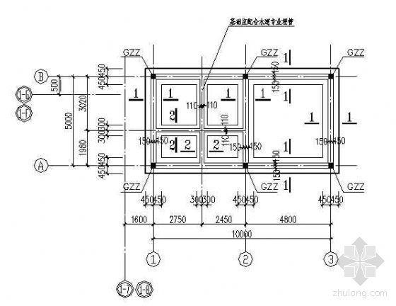 某工业建筑办公资料室结构设计施工图