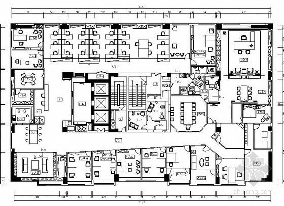 [原创]中式禅意办公室精装修CAD施工图(含效果图)