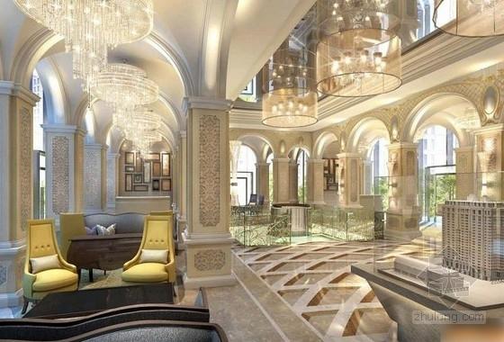 [上海]生态商务区典雅豪华休闲会所设计方案大堂效果图