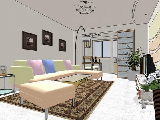 现代风格整体室内方案设计sketchup模型效果图