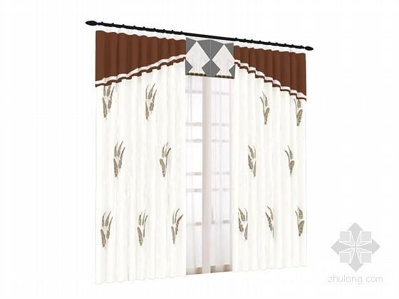 简欧窗帘3D模型下载