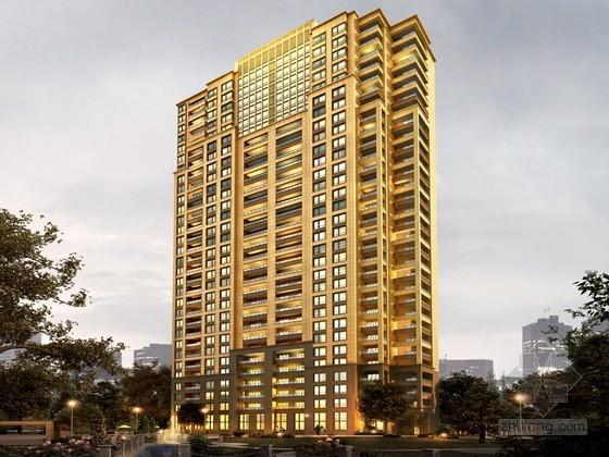 高层公寓黄昏3D模型下载