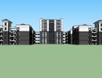 中式风格中学建筑设计SU模型