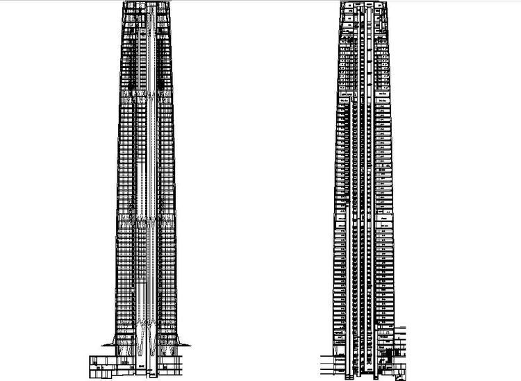 超高层知名办公综合体塔楼写字楼建筑施工图设计(74层)