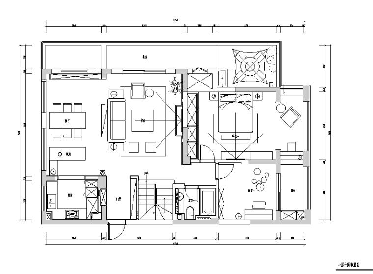 新湖果岭港式风260平米住宅设计施工图(附效果图)