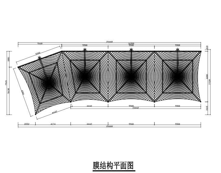 4个连体吊伞膜结构工程施工图(PDF,17张)