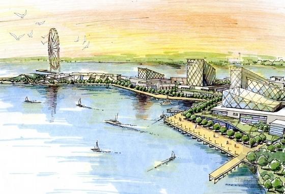 滨海生态知名地产区概念性商业综合体效果图