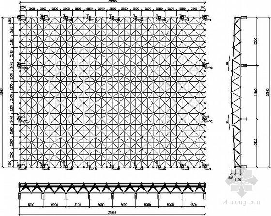 正放四角锥螺栓球网架结构施工图