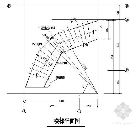 弧形钢楼梯节点构造详图