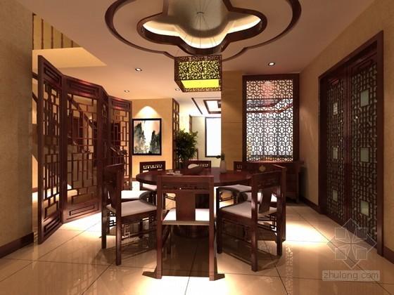 古典别墅中式餐厅3D模型(含贴图)