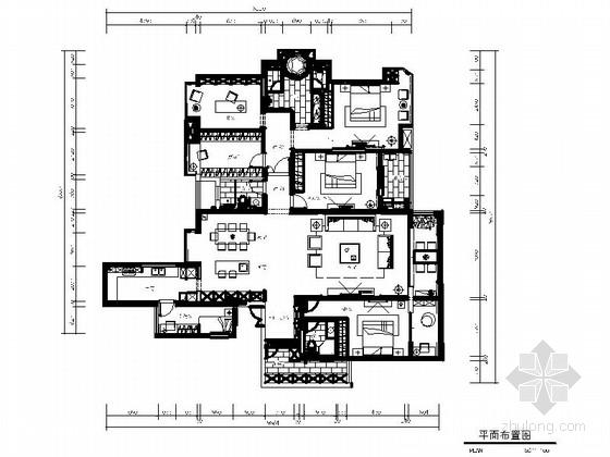[北京]简单线条禅意风格大户型住宅CAD施工图(含效果图)