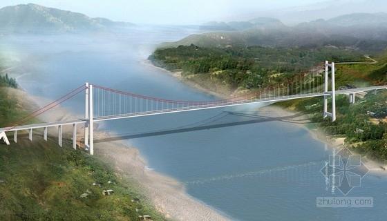 [重庆]27.5m宽跨长江单跨788m加劲梁悬索桥施工图678张CAD(含锚碇 引桥)