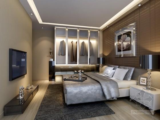 现代风格卧室样板间3d模型下载