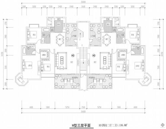 板式多层一梯二户四房二厅二卫户型图(137/137)