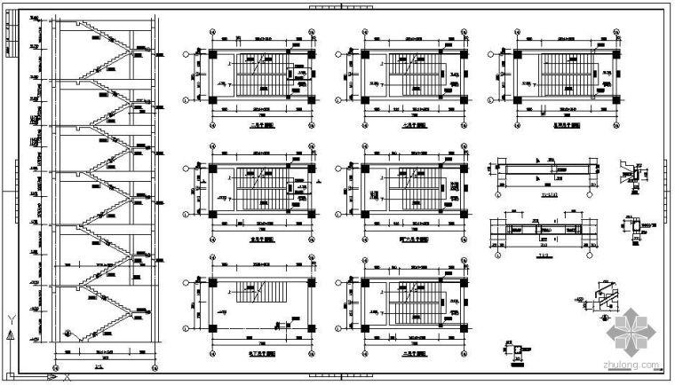 某楼梯电梯节点构造详图表