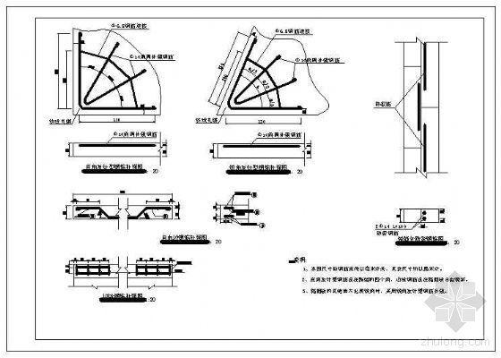 混凝土路面角隅及边缘钢筋补强节点构造详图