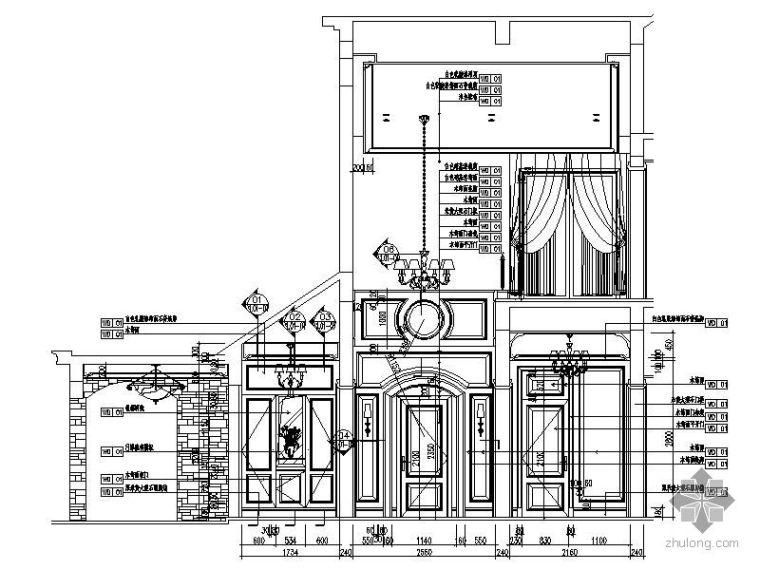 欧式别墅过厅玄关装修立面图