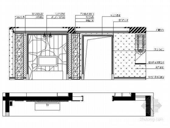 名师设计简欧风情跃层样板间CAD装修施工图(含效果)客厅立面图