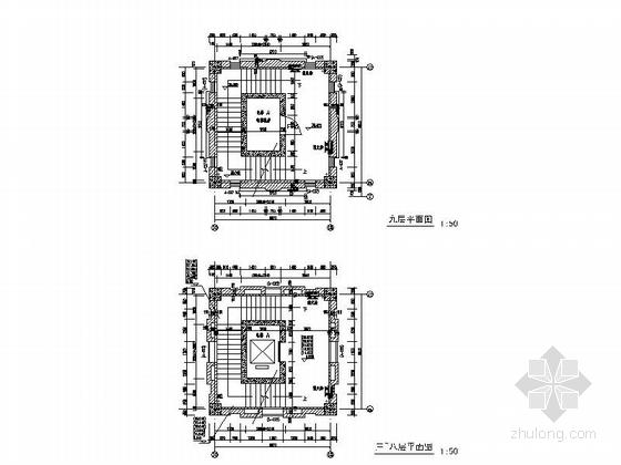 [上海]10层现代风格高校图书馆建筑施工图(知名设计院)-10层现代风格高校图书馆建筑局部大样图