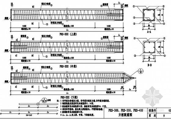 [江苏]先张法部分预应力方桩标准图25页(PRS方桩)