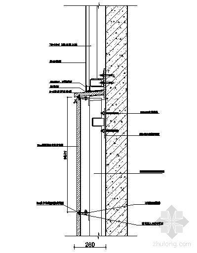 石材与铝板连接剖面大样图