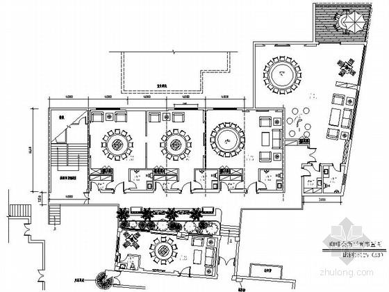 时尚高档咖啡会所室内装修CAD施工图