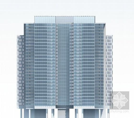 [武汉]超高层一梯四户塔式花园住宅楼建筑设计方案文本(含两套方案)-超高层一梯四户塔式花园住宅楼建筑立面图