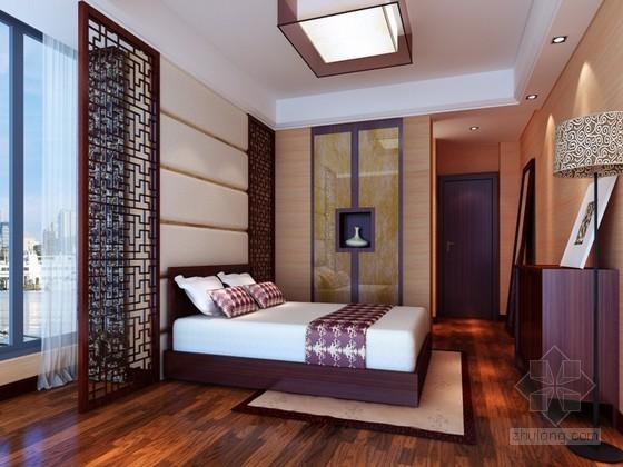 时尚中式卧室3D模型下载