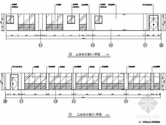[江苏]省级产品质量检验事业单位现代检验楼装修施工图(含效果)办公室立面图