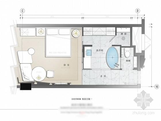 [杭州]五星级酒店客房及电梯厅设计方案