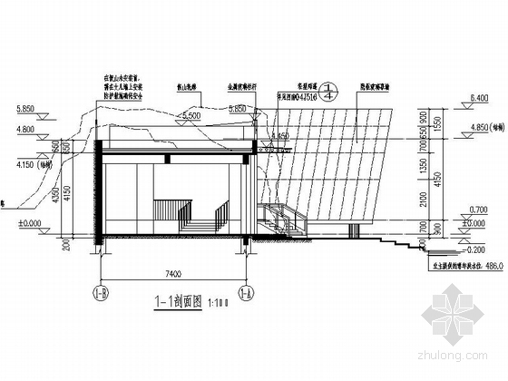 [四川]200平米小型茶室建筑设计施工图纸-200平米小型茶室剖面图