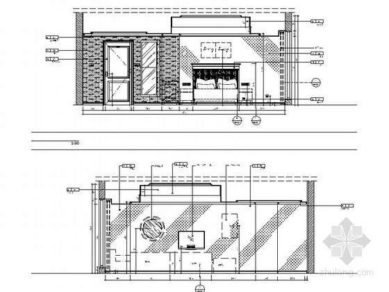 [苏州]社区型中心高档酒店客房装修施工图(含效果)无障碍房立面图
