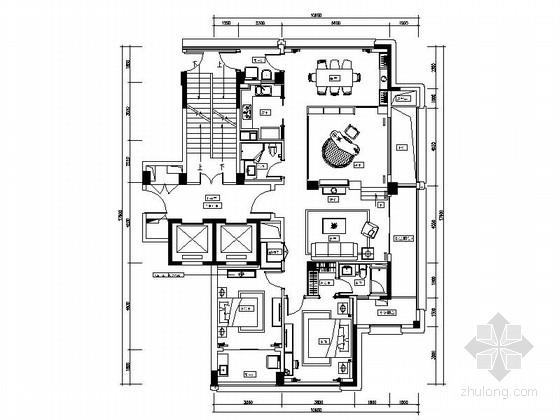 [杭州]浪漫之都时尚简欧风格四居室样板房装修施工图(含效果)