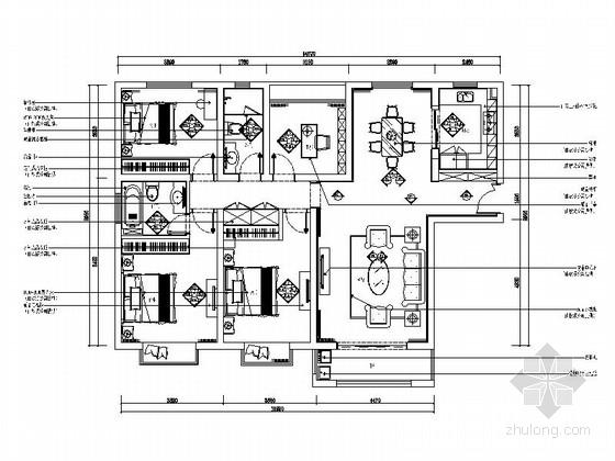 [苏州]浪漫精品欧式设计风格四居室室内装修施工图