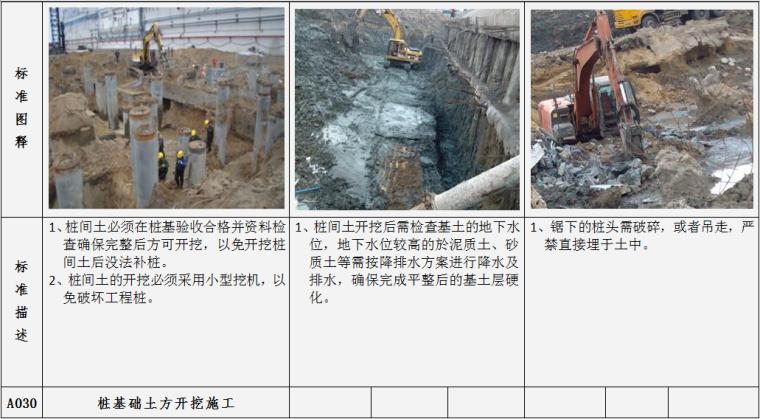 土建工程施工质量标准指引图例(施工过程标准及完成结果标准,104项)-桩基础土方开挖施工