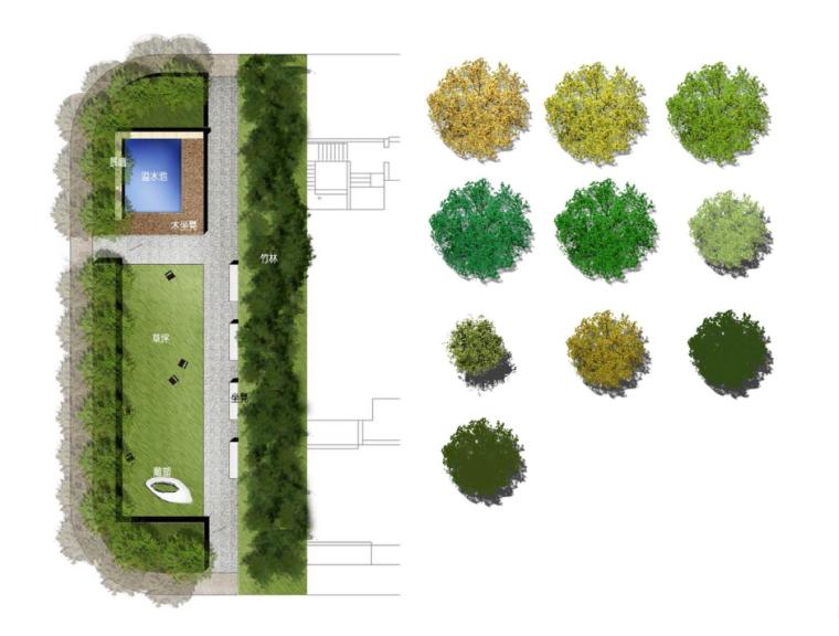 超全!国外风小清新景观设计平面图psd素材(材质+植物)