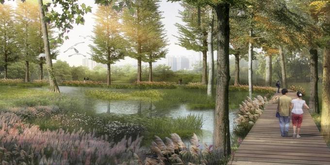 [湖北]留白简约滨水田园景观整治及生态农田修复工程设计方案(2017最新)-山林湿地区景观效果图